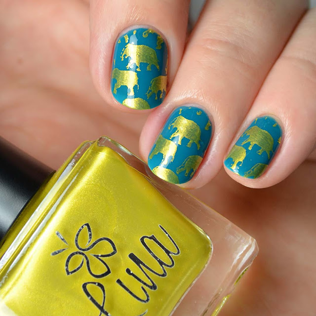 elephant nail art stamping
