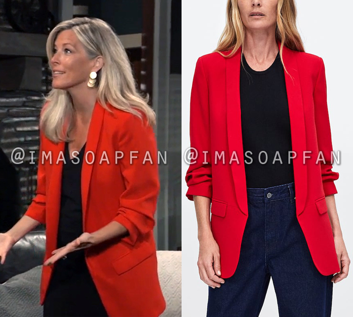 Carly Corinthos, Laura Wright, Long Red Blazer with Gathered Sleeves, General Hospital, GH
