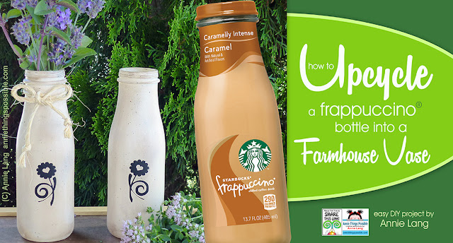 Upcyle your frappuccino bottles into a pair of cute Farmhouse style vases!