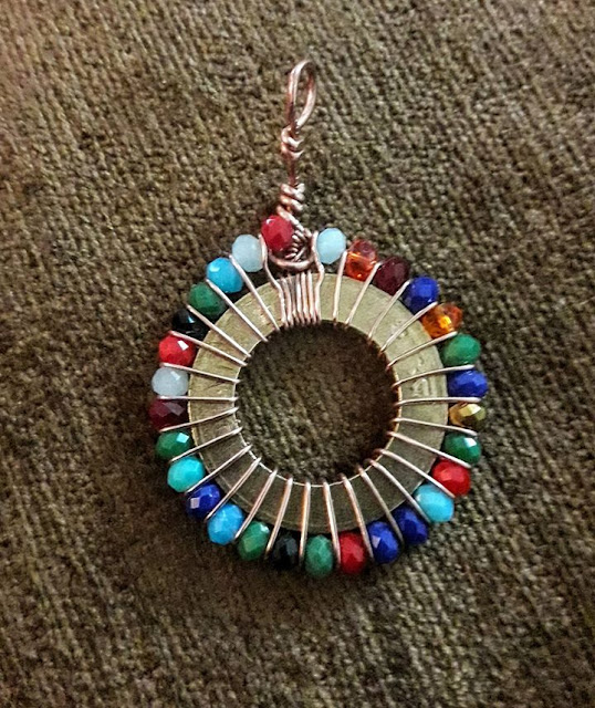 Copper Creations 10 Rupees Coin with Copper and Crystal Bead Pendant