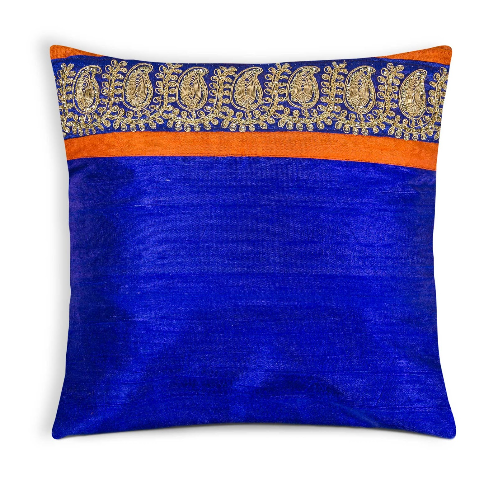 Silk Pillows and Shams Royal Blue and Orange with Gold