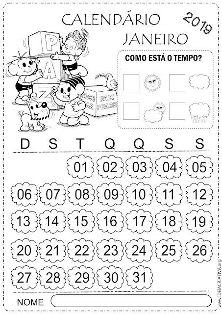 Calendários janeiro 2019 turma da Mônica