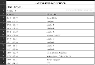 Contoh Jadwal Full Day School Untuk Jenjang SD