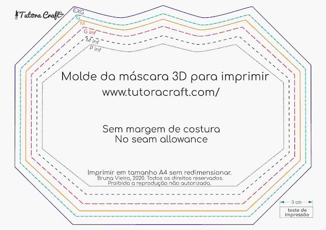 Molde da máscara 3D adulto e infantil em PDF para imprimir