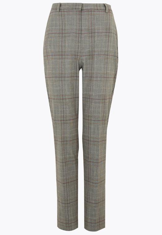Pantaloni slim fit cu model in carouri de birou