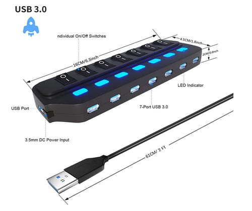 Likorlove 7 Port USB Data Hub 3.0 Splitter