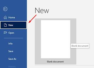 cara membuat dokumen baru di Word