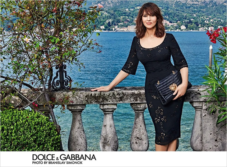 Monica Belluci poses for the Dolce & Gabbana SS21 Devotion Bag Campaign
