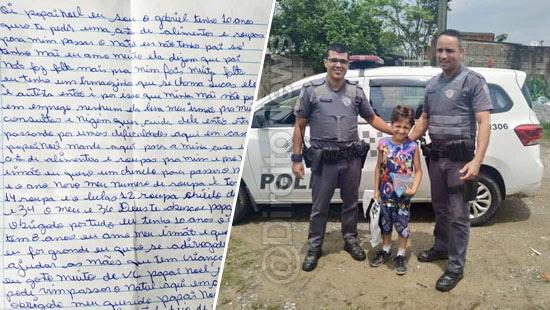 crianca carta papai noel policiais direito