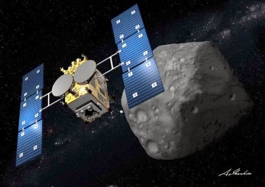 Illustration of Hayabusa 2 the asteroid miners belonging to Japan.