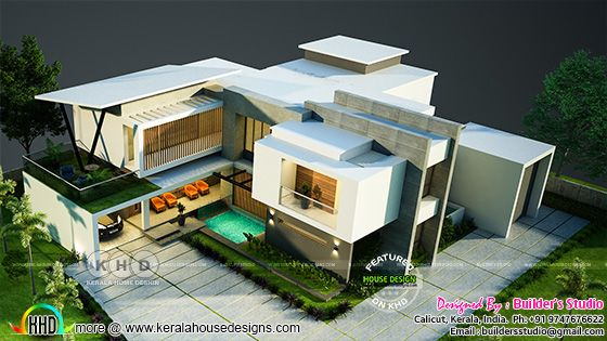 Top view rendering of box model contemporary home