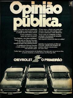 propaganda pick-ups Chevrolet 71 - 1970; os anos 70; brazilian cars in the 70s; Oswaldo Hernandez; década de 70;