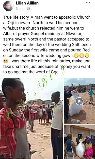 Drama as first wife storms wedding venue and pours red oil on her husband's new bride's wedding gown (video)