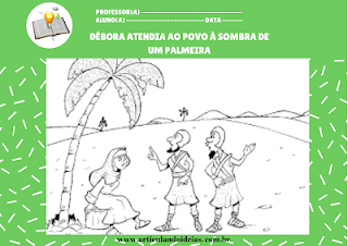 Atividade pintura Débora e Baraque a sombra da palmeira