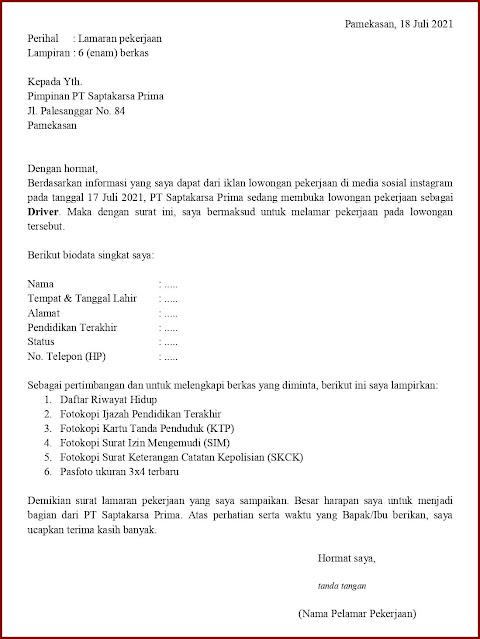 Contoh Application Letter Untuk Driver Mobil Box (Fresh Graduate) Berdasarkan Informasi Dari Media Sosial