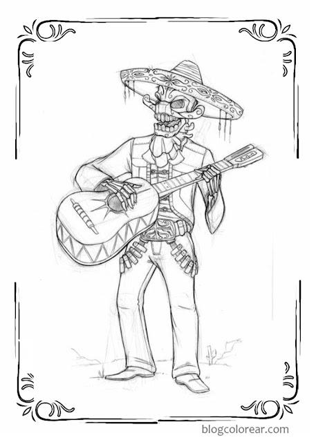 colorear día de los muertos esqueleto mariachi