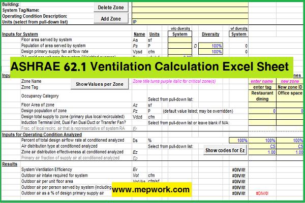 Download ASHRAE 62.1 Ventilation Calculation Excel Sheet  (xls)