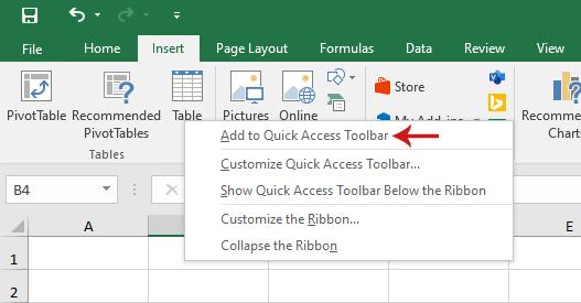 شريط أدوات الوصول السريع في برنامج Excel