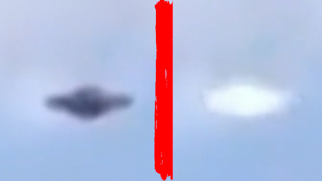 Side by side photos of the Rome silver metal ufo over Rome.