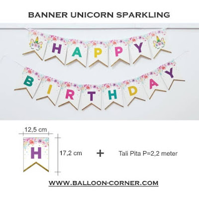 Bunting Flag Segilima HAPPY BIRTHDAY Motif UNICORN SPARKLING