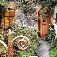 Virtual tour of Dublin: Brown door and front garden along the Grand Canal