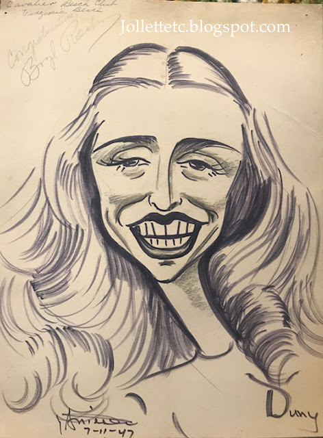 Caricature of Mary Eleanor Davis 1947 https://jollettetc.blogspot.com