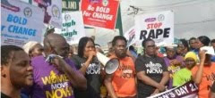 IWD: Women clash with security men Alausa