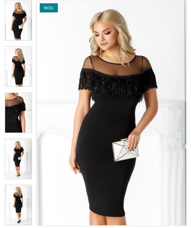 Rochie midi neagra eleganta tull transparent cu franjuri croi conic