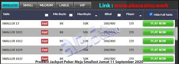 prediksi jackpot poker meja smallest jumat 11 september 2020
