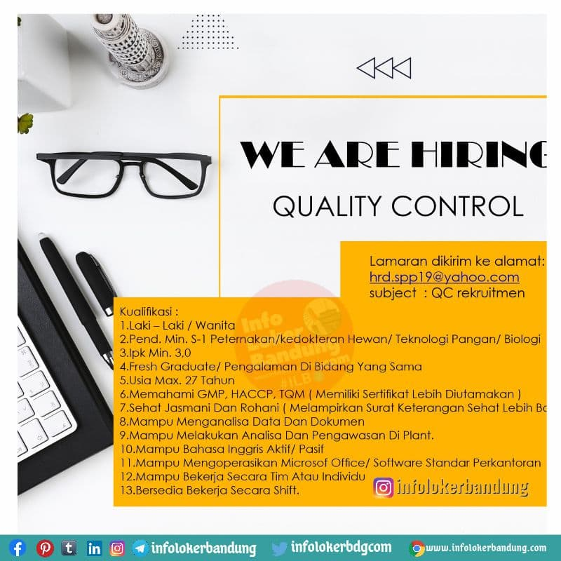 Lowongan Kerja Quality Control Bandung September 2021