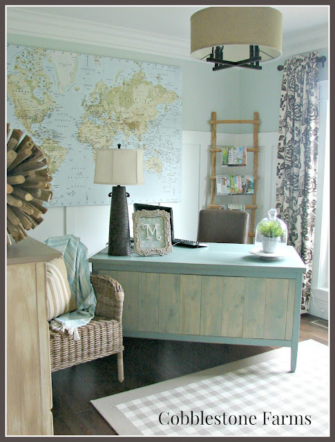 farm, farmhouse, farmhouse tour, home tour, home office, farm office, Ikea map, ladder, makeover desk, blue walls, wicker chair, checked rug, board and batten walls