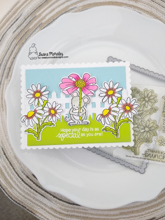 Hope your day is special as you are by Diane features Dainty Daisies, Fence, Land Borders, Garden Mices and Frames & Flags by Newton's Nook Designs; #newtonsnook
