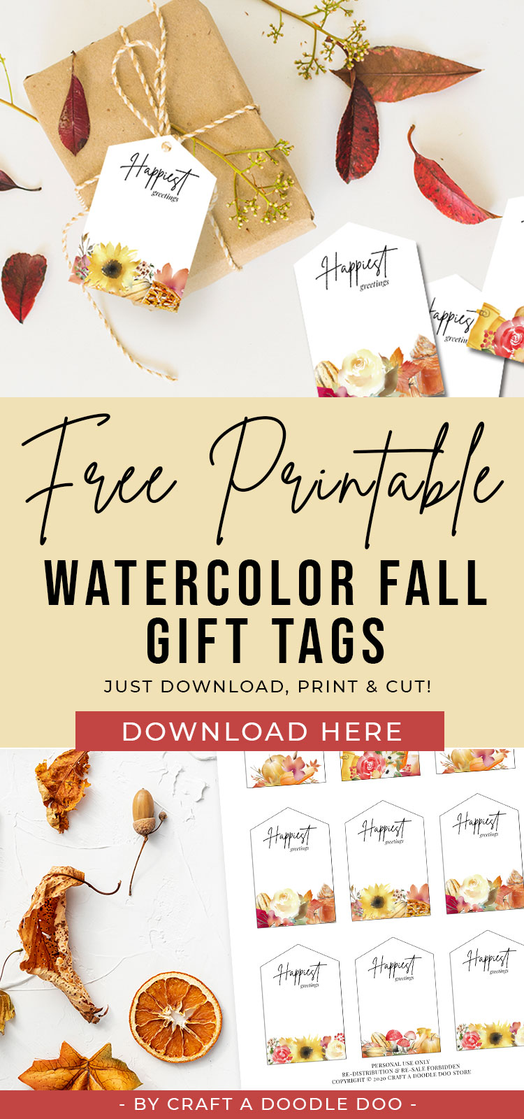 Free Printable Fall Gift Tags, Watercolor Autumn Giftwrap tags, DIY thanksgiving tags