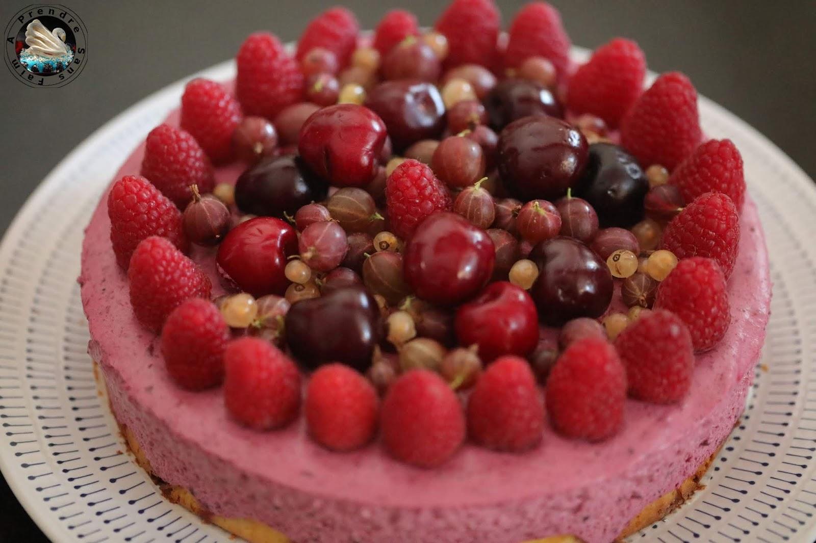 Gâteau nuage citron fruits rouges