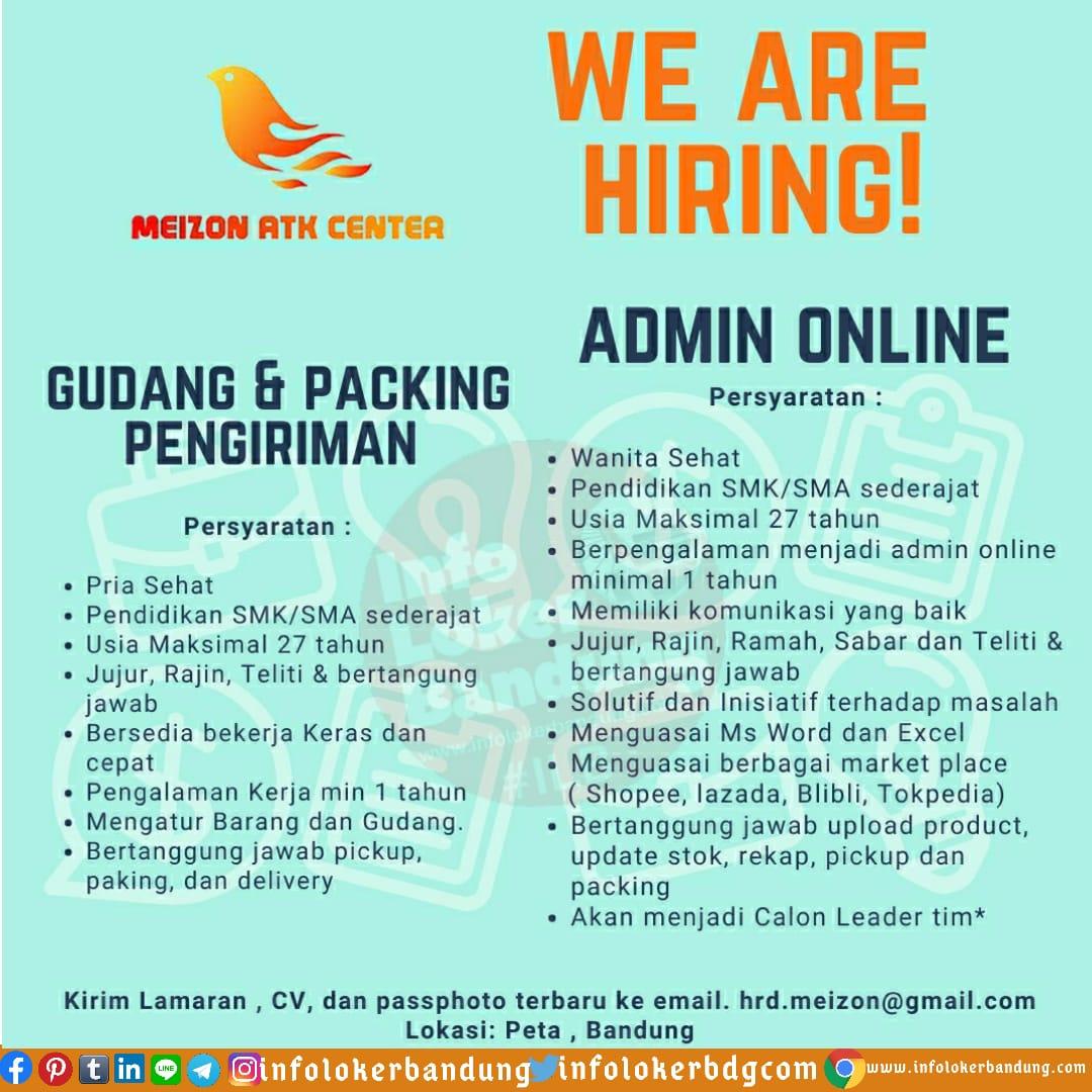 Lowongan Kerja Admin Online & Gudang dan Packing Pengiriman Meizon ATK Center Bandung Juni 2020