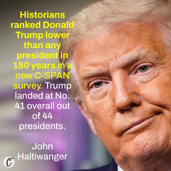 Historians ranked Donald Trump lower than any president in 150 years in a new C-SPAN survey. Trump landed at No. 41 overall out of 44 presidents. — John Haltiwanger, Business Insider Senior Politics Reporter