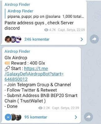 Gabung Channel Telegram Untuk Mendapatkan Informasi Airdrop