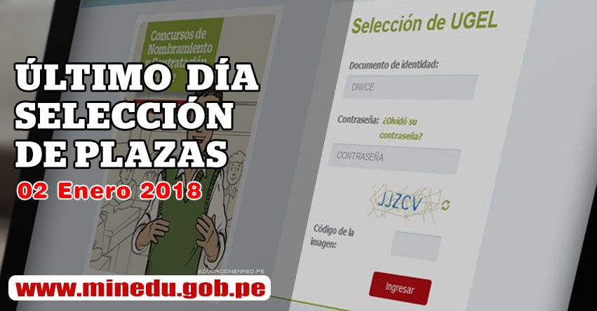 MINEDU: Hoy último día Inscripción Contrato Docente (02 Enero 2018) Selección Plazas UGEL DRE - www.minedu.gob.pe