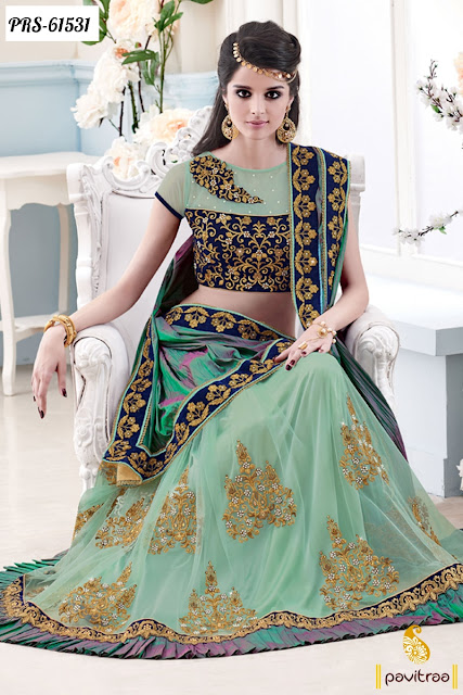 sea green color net designer saree collection online shopping with price for wedding and reception
