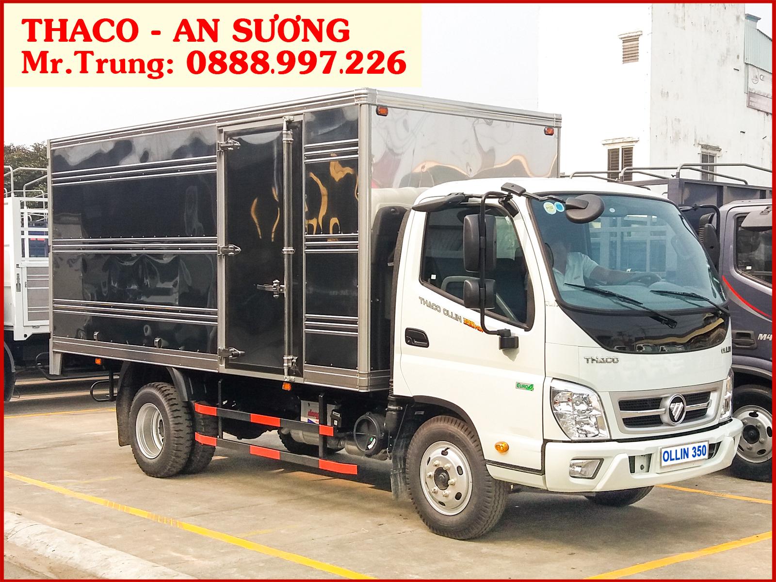 Xe tải Thaco OLLIN 350 thùng kín, tải trọng 2.150 kg, được phép lưu thông vào thành phố