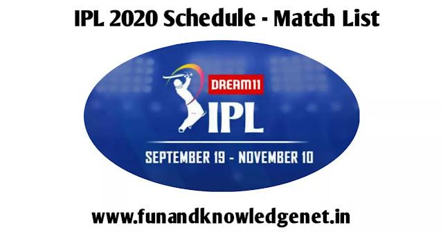IPL 2020 Schedule UAE Match List