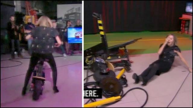 Apresentadora sofre acidente em programa de TV