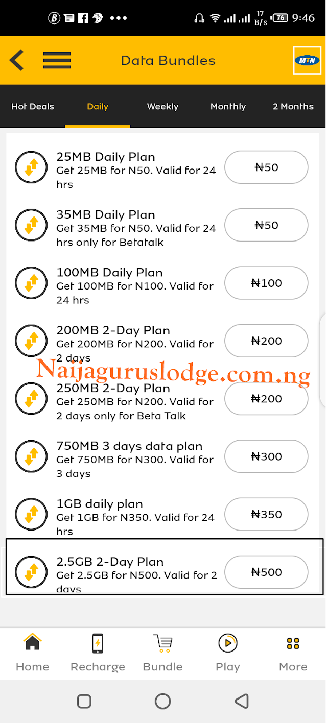 MTN Launches 2.5GB for N500 Data Plans Quietly