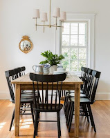 Wooden long dining table and black dining chairs with wondrous chandelier over dining area. This really is one example of photographs from various media that serve concept for you. We certainly have choose the the best photos that fitted with the cottage dining room.