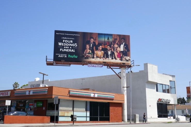 Four Weddings Funeral Hulu series billboard