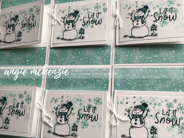 By Angie McKenzie on this Thankful Thursday - Card Swap; Click READ or VISIT to go to my blog for details! Featuring the Snowman Season Stamp Set and the Let It Snow Specialty Designer Series Paper; #simplestamping #snowmanseasonstampset #icestampinglitter #bakerstwine #letitsnow #letitsnowspecialtydsp  #coloringwithblends #wintercards #anyoccasioncards #thankyoucards #cardtechniques #stamping #loveitchopit
