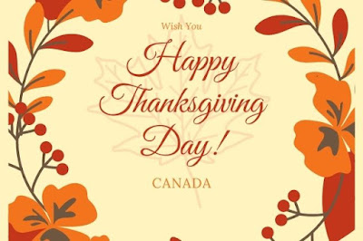 Happy Thanksgiving Day written on a flower graphics background.