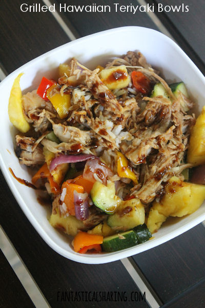 Grilled Hawaiian Teriyaki Bowls // Chicken, zucchini, sweet bell peppers, onion, and pineapple are all grilled and then served in a bed of coconut jasmine rice and topped with homemade teriyaki sauce #recipe #pineapple #chicken #rice #maindish