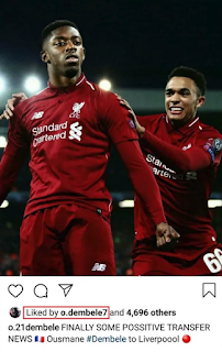 Barcelona winger Dembele 'likes' Liverpool transfer Instagram post
