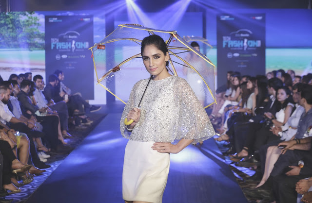 Model posing during the sequence of  Designer Nandita Mahtani at Beetle's Tech Fashion Tour 2016